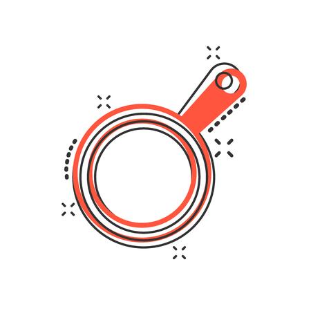 Icono de sartén de dibujos animados de vector en estilo cómic. Pictograma de ilustración de concepto de sartén de cocina. Concepto de efecto de salpicadura de negocio de equipo de cocina de sartén.