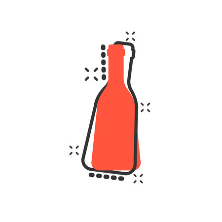 Vector cartoon wine, beer bottle icon in comic style. Alcohol bottle concept illustration pictogram. Beer, vodka, wine business splash effect concept. 免版税图像 - 107083054