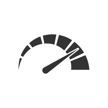 Meter dashboard icon in flat style. Credit score indicator level vector illustration on white isolated background. Gauges with measure scale business concept. Çizim