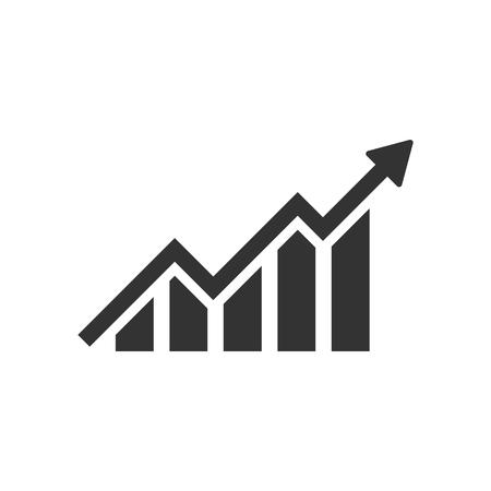 Icona del grafico a barre in crescita in stile piano. Aumentare l'illustrazione vettoriale della freccia su sfondo bianco isolato. Concetto di affari di progresso di infografica. Vettoriali