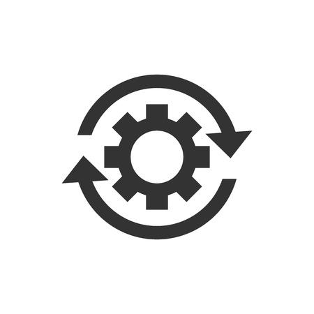 Icono de proceso de flujo de trabajo en estilo plano. Rueda dentada de engranaje con flechas ilustración vectorial sobre fondo blanco aislado. Concepto de negocio de flujo de trabajo.