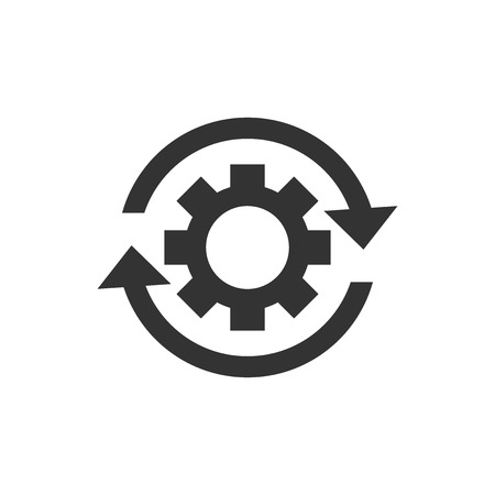 Workflow process icon in flat style. Gear cog wheel with arrows vector illustration on white isolated background. Workflow business concept. Çizim