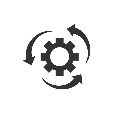 Workflow process icon in flat style. Gear cog wheel with arrows vector illustration on white isolated background. Workflow business concept. Stock Illustratie