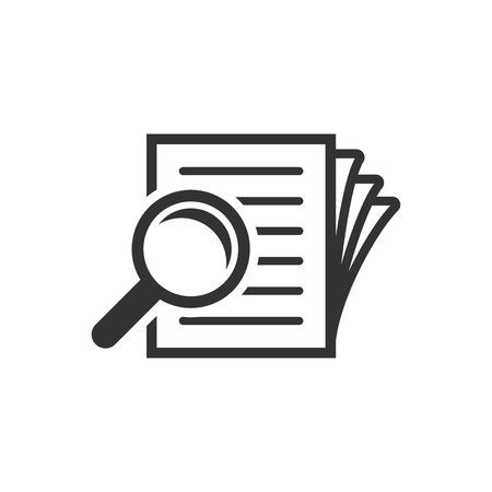 Scrutiny document plan icon in flat style. Review statement vector illustration on white isolated background. Document with magnifier loupe business concept. 스톡 콘텐츠 - 110298095