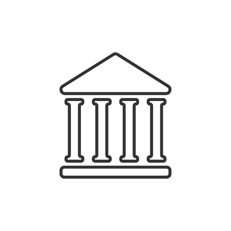 Bank building icon in flat style. Government architecture vector illustration on white isolated background. Museum exterior business concept.  イラスト・ベクター素材