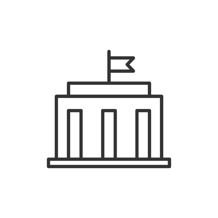 Bank building icon in flat style. Government architecture vector illustration on white isolated background. Museum exterior business concept. Stock Illustratie