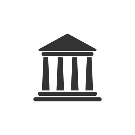 Bank building icon in flat style. Government architecture vector illustration on white isolated background. Museum exterior business concept. 向量圖像