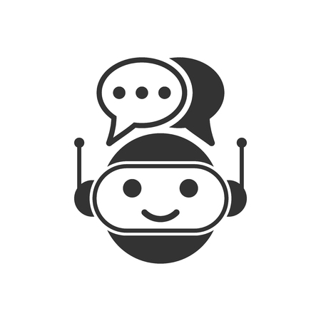 Cute robot chatbot icon in flat style. Bot operator vector illustration on white isolated background. Smart chatbot character business concept.