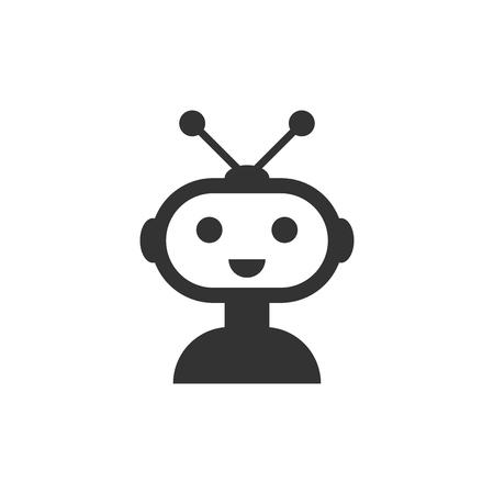 Icona di chatbot robot carino in stile piano. Illustrazione vettoriale di bot operatore bianco su sfondo isolato. Concetto di affari di carattere chatbot intelligente. Vettoriali