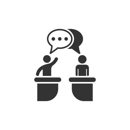 Symbol für politische Debatten im flachen Stil. Präsidentendebatten Vektor-Illustration auf weißem Hintergrund isoliert. Geschäftsmann Diskussion Geschäftskonzept.