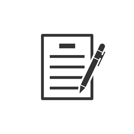 Contract agreement icon in flat style. Document sheet with pen vector illustration on white isolated background. Contract arrangement business concept. Illustration