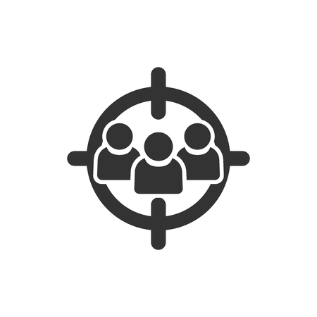 Target audience icon in flat style. Focus on people vector illustration on white isolated background. Human resources business concept.