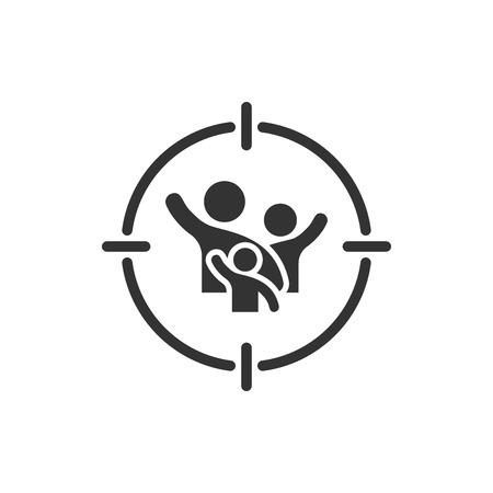 Icona del pubblico di destinazione in stile piano. Concentrarsi sulle persone illustrazione vettoriale su sfondo bianco isolato. Concetto di affari delle risorse umane.