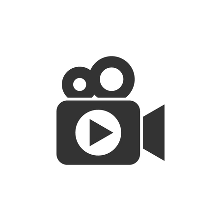 Video camera icon in flat style. Movie play vector illustration on white isolated background. Video streaming business concept. Banco de Imagens - 109466076