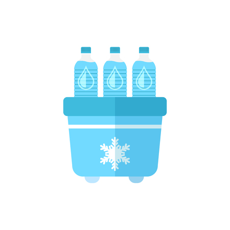 Portable fridge refrigerator with water bottle icon in flat style. Freezer bag container vector illustration on white isolated background. Fridge and soda drink business concept. Ilustração
