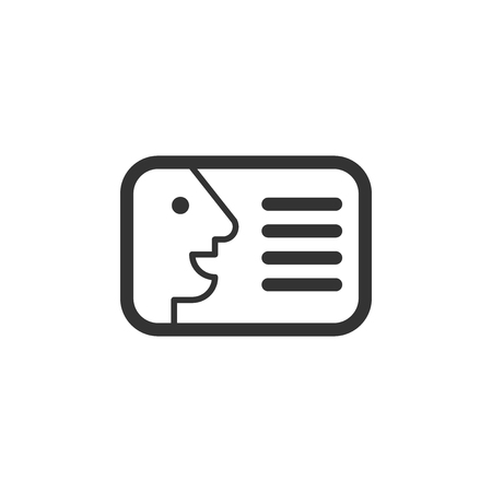 Id card icon in flat style. Identity badge vector illustration on white isolated background. Access cardholder people business concept. Иллюстрация