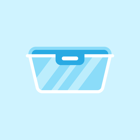 Food container icon in flat style. Kitchen bowl vector illustration on white isolated background. Plastic container box business concept.