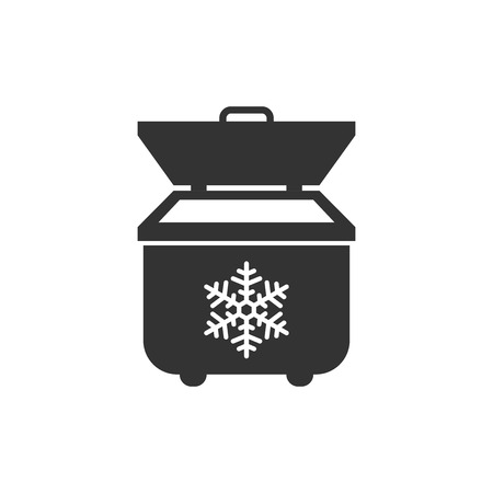 Portable fridge refrigerator icon in flat style. Freezer bag container vector illustration on white isolated background. Fridge business concept.