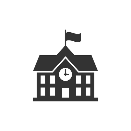 School building icon in flat style. College education vector illustration on white isolated background. Bank, government business concept.