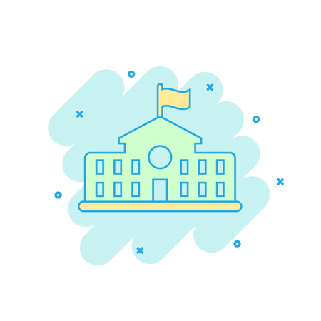 Cartoon colored school building icon in comic style. College education illustration pictogram. Bank, government splash business concept.