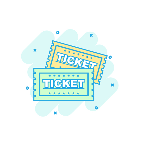 Cartoon colored ticket icon in comic style. Admit one sign illustration pictogram. Ticket splash business concept. Illustration