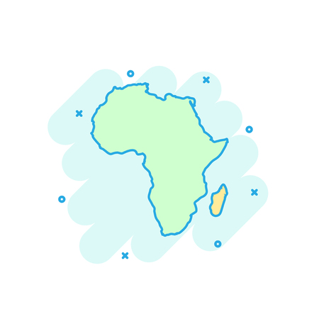 Cartoon colored Africa map icon in comic style. Africa sign illustration pictogram. Country geography splash business concept.