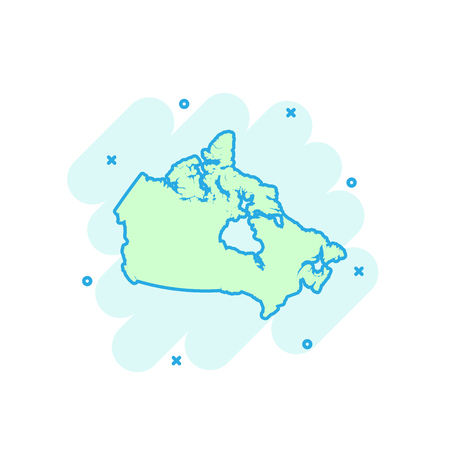 Cartoon colored Canada map icon in comic style. Canada sign illustration pictogram. Country geography splash business concept.