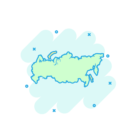 Cartoon colored Russia map icon in comic style. Russian Federation sign illustration pictogram. Country geography splash business concept.