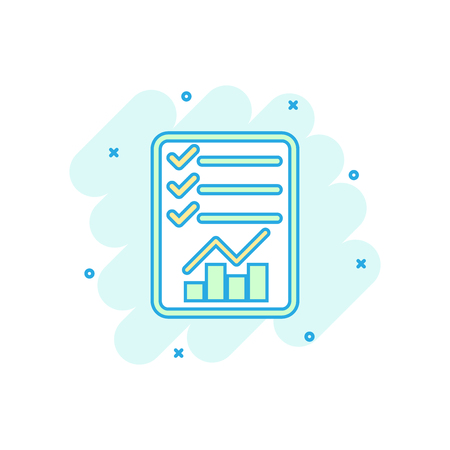 Cartoon colored checklist icon in comic style. Document check sign illustration pictogram. Diagram graph splash business concept.