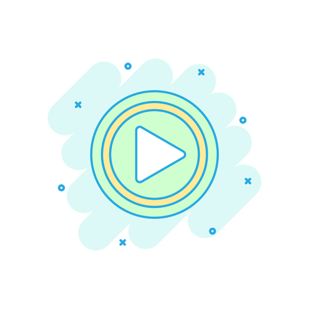 Cartoon colored play button icon in comic style. Play sign illustration pictogram. Click splash business concept. Illustration