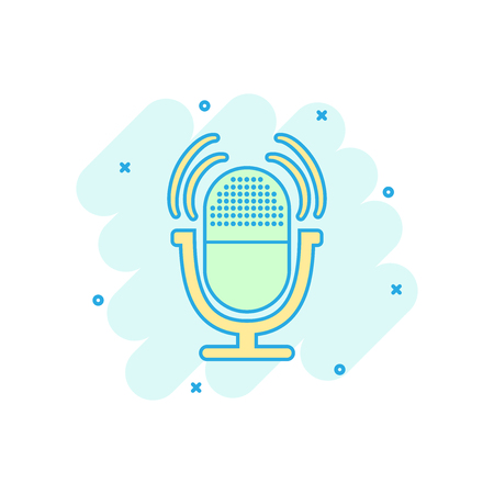 Cartoon colored microphone icon in comic style. Mic illustration pictogram. Mike sign splash business concept.