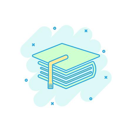 Icona del libro e istruzione colorata del fumetto in stile fumetto. Pittogramma di illustrazione di berretto di laurea. Segno di educazione splash concetto aziendale.