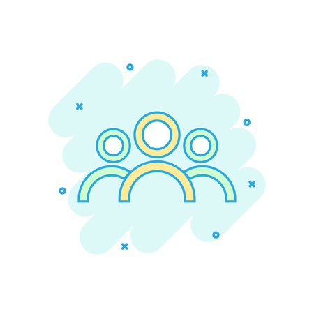 Cartoon colored people icon in comic style. People illustration pictogram. Users person sign splash business concept.