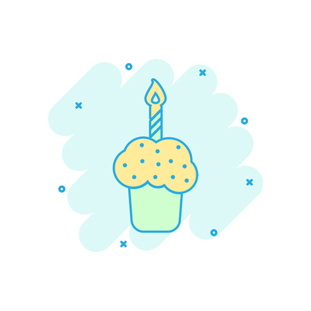 Cartoon colored birthday cake icon in comic style. Fresh pie muffin illustration pictogram. Cake sign splash business concept. Иллюстрация