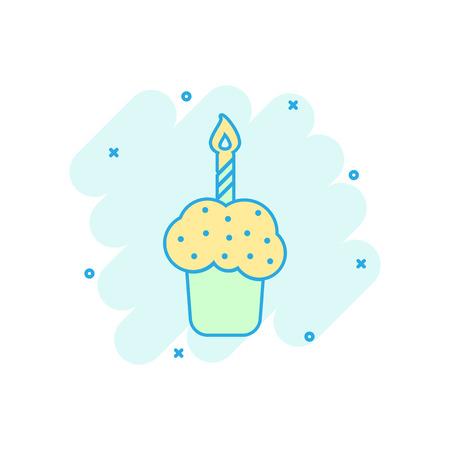 Cartoon farbige Geburtstagskuchen-Symbol im Comic-Stil. Piktogramm der frischen Tortenmuffinillustration. Kuchen-Schild-Splash-Geschäftskonzept. Vektorgrafik