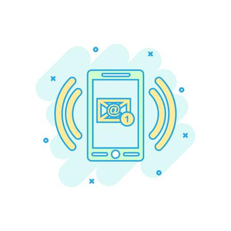 Cartoon colored smartphone icon in comic style. Phone illustration pictogram. Smartphone sign splash business concept. Иллюстрация