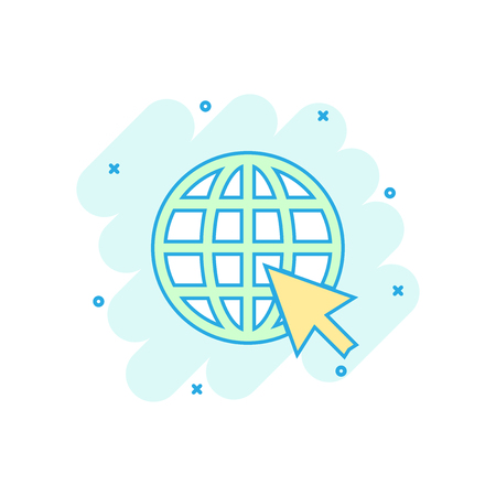 Cartoon colored go to web icon in comic style. Globe world illustration pictogram. WWW url sign splash business concept.