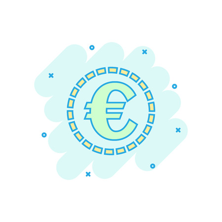 Cartoon colored euro coins icon in comic style. Money coin illustration pictogram. Euro cash sign splash business concept.
