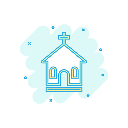 Cartoon colored church sanctuary icon in comic style. Temple building illustration pictogram. Church sign splash business concept. Illustration