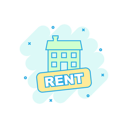 Vector cartoon rent house icon in comic style. Rent sign illustration pictogram. Rental business splash effect concept. Illusztráció
