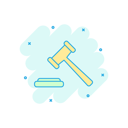 Vector cartoon auction hammer icon in comic style. Court tribunal sign illustration pictogram. Hammer business splash effect concept.