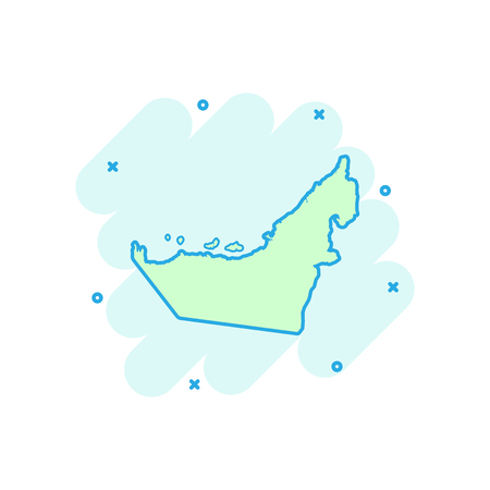 Vector cartoon United Arab Emirates map icon in comic style. United Arab Emirates sign illustration pictogram. Cartography map business splash effect concept.