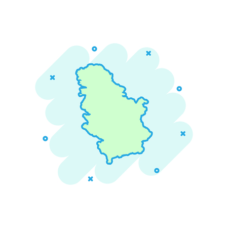 Vector cartoon Serbia map icon in comic style. Serbia sign illustration pictogram. Cartography map business splash effect concept.