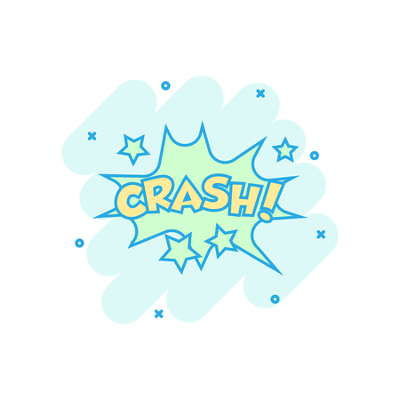 Vector cartoon crash comic sound effects icon in comic style. Sound bubble speech sign illustration pictogram. Crash business splash effect concept.