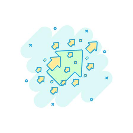 Vector cartoon arrow up icon in comic style. Forward arrow sign illustration pictogram. Cursor business splash effect concept. Illustration
