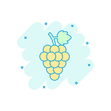 Vector cartoon grape fruit with leaf icon in comic style. Bunch of wine illustration pictogram. Grapevine business splash effect concept.