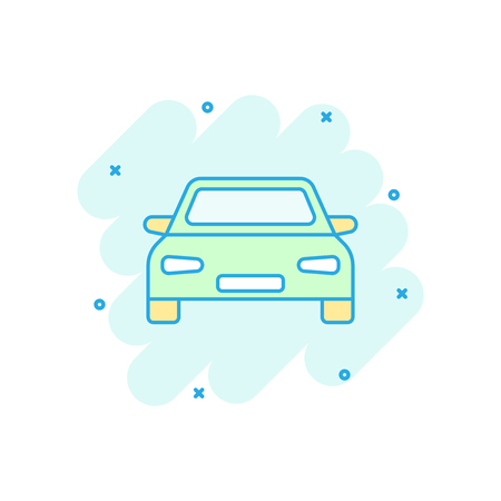 Vector cartoon car icon in comic style. Automobile vehicle illustration pictogram. Car sedan splash effect concept.