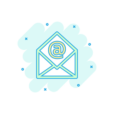 Vector cartoon mail envelope icon in comic style. Email sign illustration pictogram. E-mail business splash effect concept.