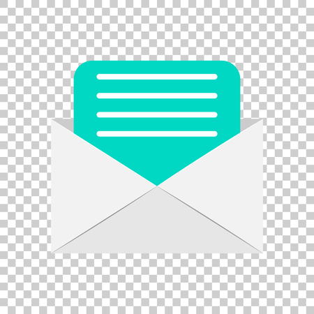 Mail envelope icon in flat style. Email message vector illustration on isolated background. Mailbox e-mail business concept. Фото со стока - 112038159