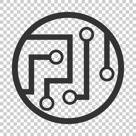 Circuit board icon in flat style. Technology microchip vector illustration on isolated background. Processor motherboard business concept.